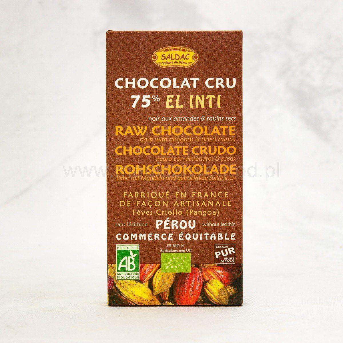 Czekolada ciemna 75% kakao Criollo z migdałami i rodzynkami